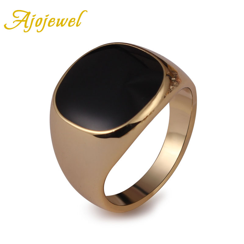Ajojewel SIZE 6 13 Classic Gold color Men Ring Black Enamel