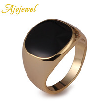 2015 new 18K plated classic gold men rings black enamel painting jewelry fashion