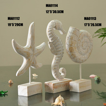 Free Shipping New Mediterranean Style Wooden Handicrafts Of Conch Or Starfish