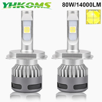 YHKOMS 80W 14000LM H4 LED Car Headlight H7 H11 H8 H9 9005 HB3 9006 HB4 LED Bulb Auto Fog Light Automobile Lamp White 6500K 12V