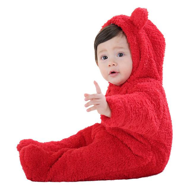 Brand New Coral Cashmere Quente Grosso Do Bebê Footies Encapuzados Inverno da Longo-luva Do Corpo em geral Qualidade Superior 3-18 M Macacão de Pelúcia Ao Ar Livre