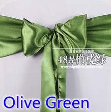 Olive green colour high quality satin sash chair bow for chair covers sash spandex party and wedding decoration wholesale(China)