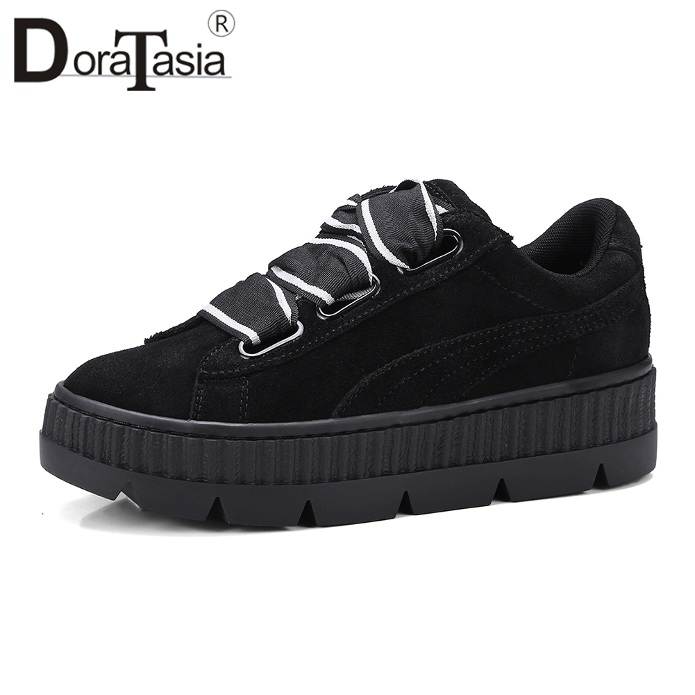 DORATASIA New Luxury Brand Sneakers Women 2019 Autumn Genuine Leather Suede Flats Girl Casual Flat Platform Shoes Woman