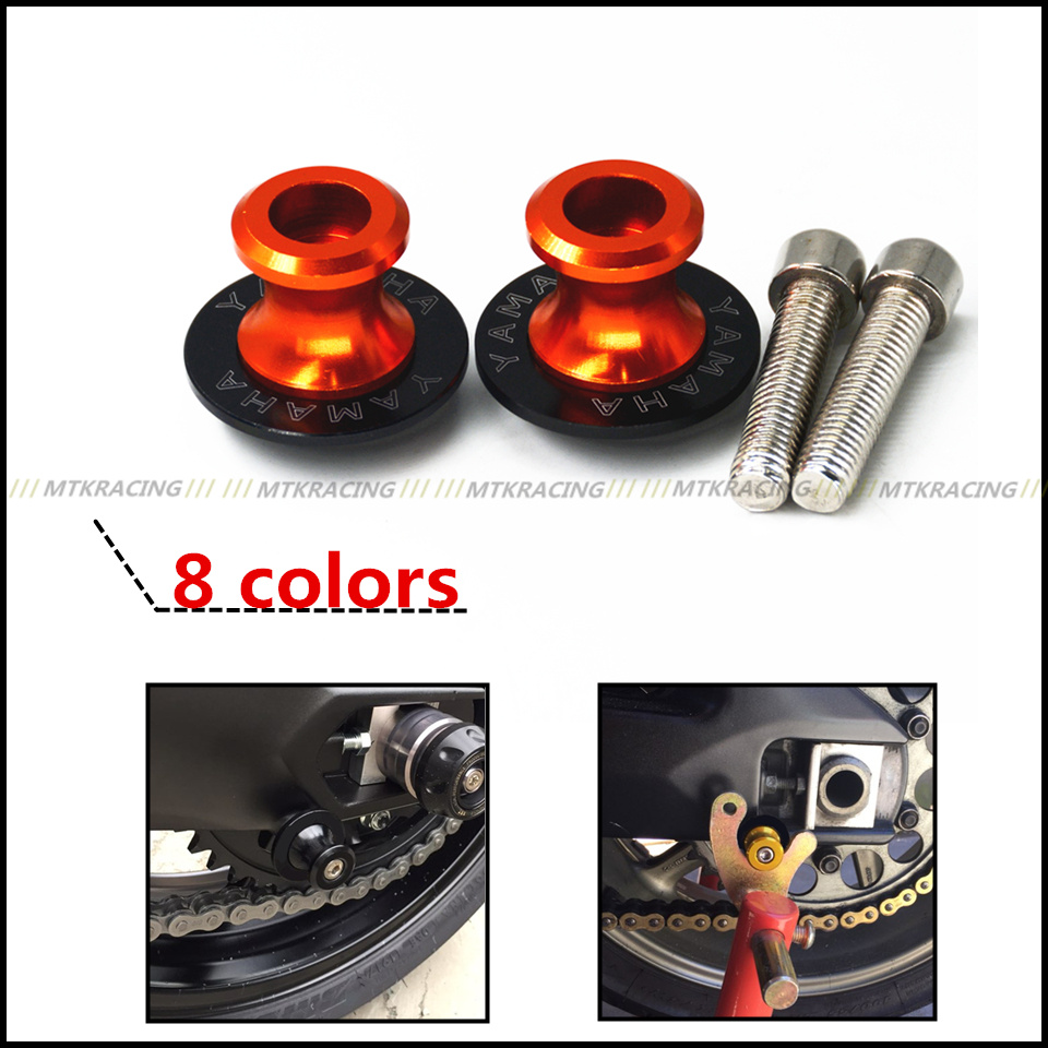 6mm Motorcycle CNC Swingarm Sliders Spools Paddock Stand Bobbins Swing Arm For Yamaha LOGO MT09 MT-09 R1 R3 R6 R25 R6S 6mm swing arm spools sliders for yamaha r7 yzf r1 r6 r6s fz1 fz6 fz6r 8 colors