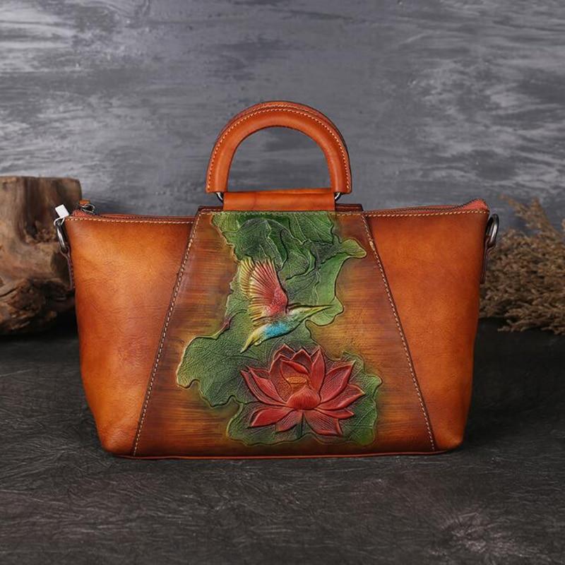 กระเป๋าถือหรูผู้หญิงออกแบบกระเป๋าหนังแท้กระเป๋าถือวาดด้วยมือไหล่กระเป๋า Vintage Crossbody Messenger กระเป๋า-ใน กระเป๋าหูหิ้วด้านบน จาก สัมภาระและกระเป๋า บน   1