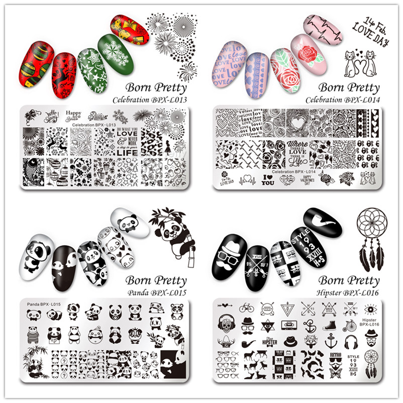 1Pc BORN PRETTY Nail Stamping Plates Celebration New Year Valentine's Day Panda Hipster Design Manicure Nail Art Image Template
