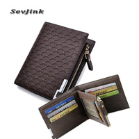 2014 New Men S Leather Wallet Short Zipper Card Holder Men Coin Change Purse