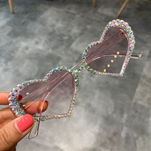 Vintage Heart Sunglasses Women Fashion Luxury Rhinestone Decoration Cat