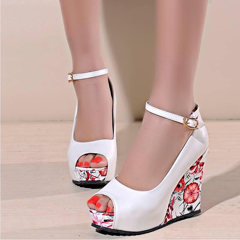 ФОТО Pumps Sweet Bohemia Flower Print High Heel Wedges Summer Shoes Gladiator Ankle Strap Wedding Shoes Open Toe Platform Women Pumps