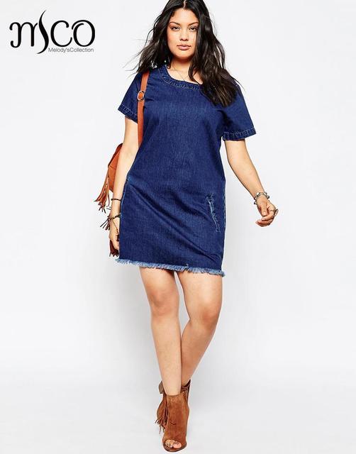 285edd38e3 Brand Euro 2016 Denim Summer Dress Vintage Oversize Trim Hem Tunic Dresses  Plus Size Women Jean Clothing 6XL 7XL High Quality