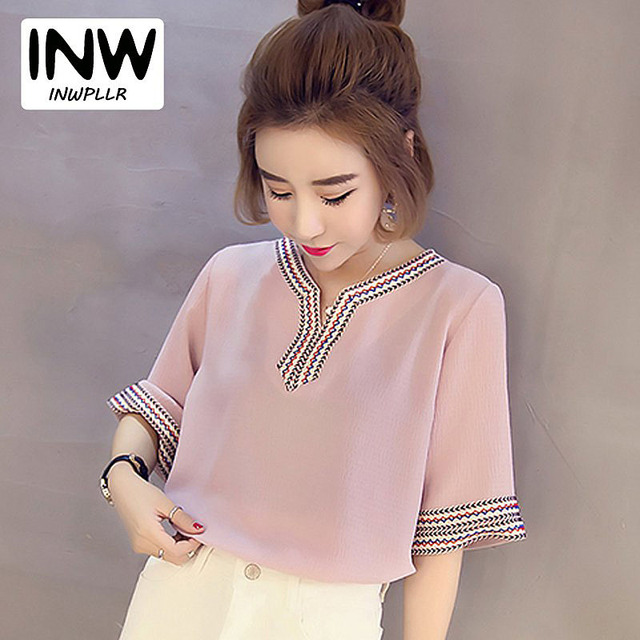 Blouse Female 2018 New Summer Embroidery Shirts Vintage