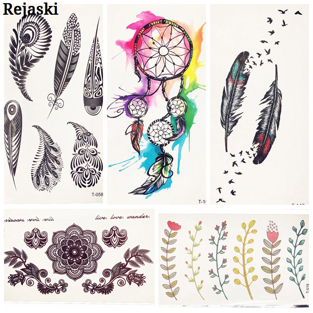 Black Peacock Feather Birds Temporary Tattoo Stickers Water Color Dream Catcher Water Transfer Tattoo Body Art Drawings Tatoos