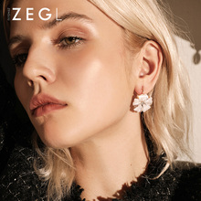 ZEGL vintage white flower earrings fashion temperament petals for women personalized