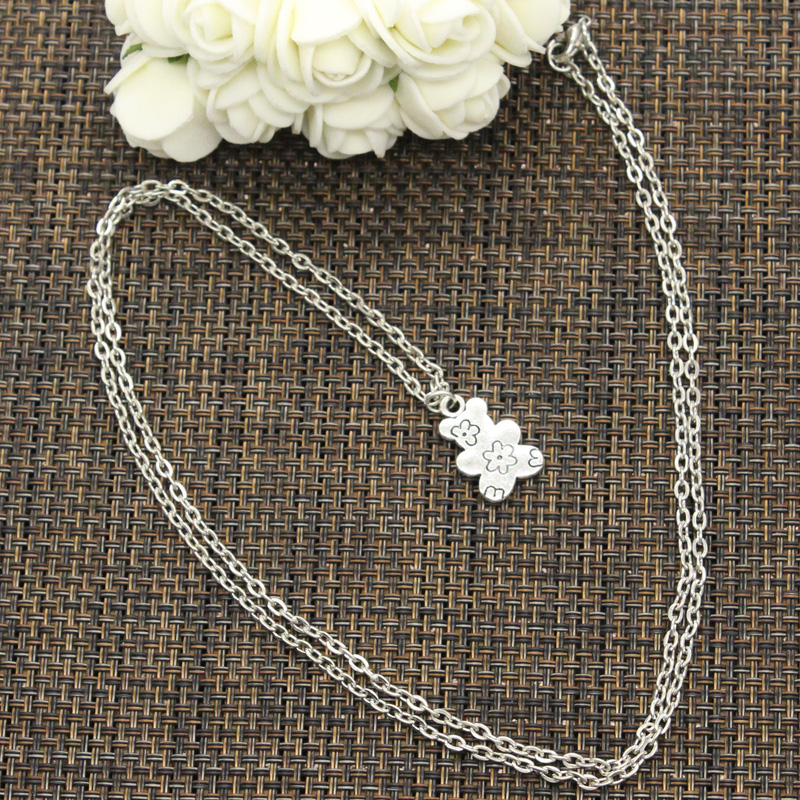 New Fashion Double Sided Flower Bear Pendants Round Cross Chain Short Long Mens Womens DIY Silver Color Necklace Jewelry Gift 1