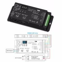 2 stks 12 36 v 4 Kanalen PWM Constante Spanning DMX Decoder Met Digitale Display XLR3 en RJ45 poort led DMX512 Decoder Controller