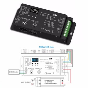 Image 1 - 2Pcs 12 36V 4 Channels PWM Constant Voltage DMX Decoder With Digital Display XLR3 and RJ45 port Led DMX512 Decoder Controller