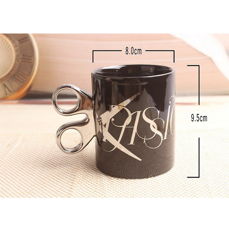 Ceramic Coffee Mug Creative Golden Silver Scissors Cup With Handgrip Drinkware Mug Party Decor Gift for Christmas