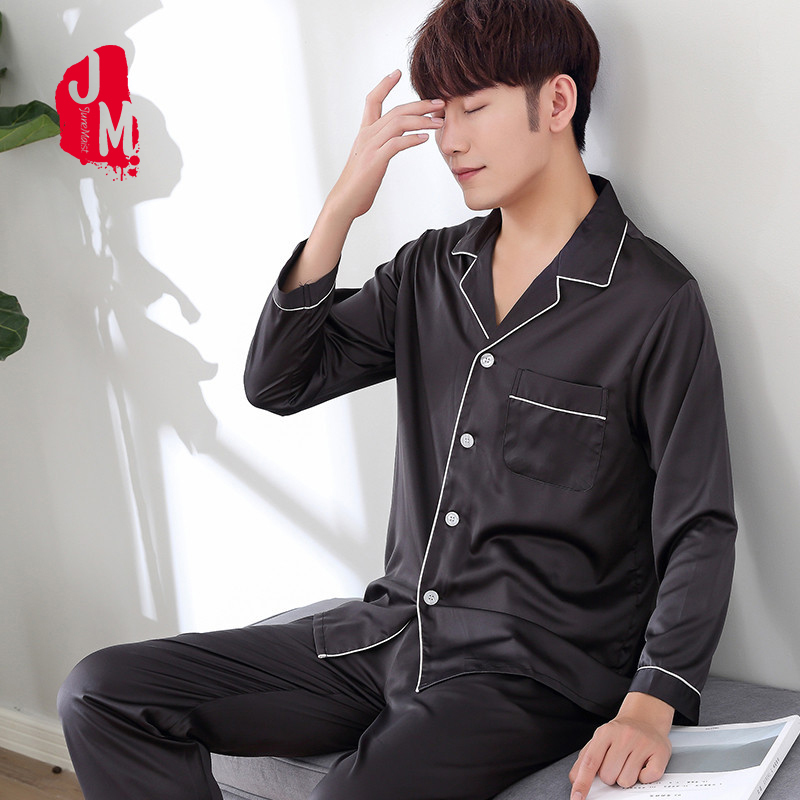 2018 Solid Satin Men Pajama Sets Summer Full Sleeve Autumn Silk Men Sleepwear Suit Casual Two-Piece Silk Pajamas Man Pyjama XXXL
