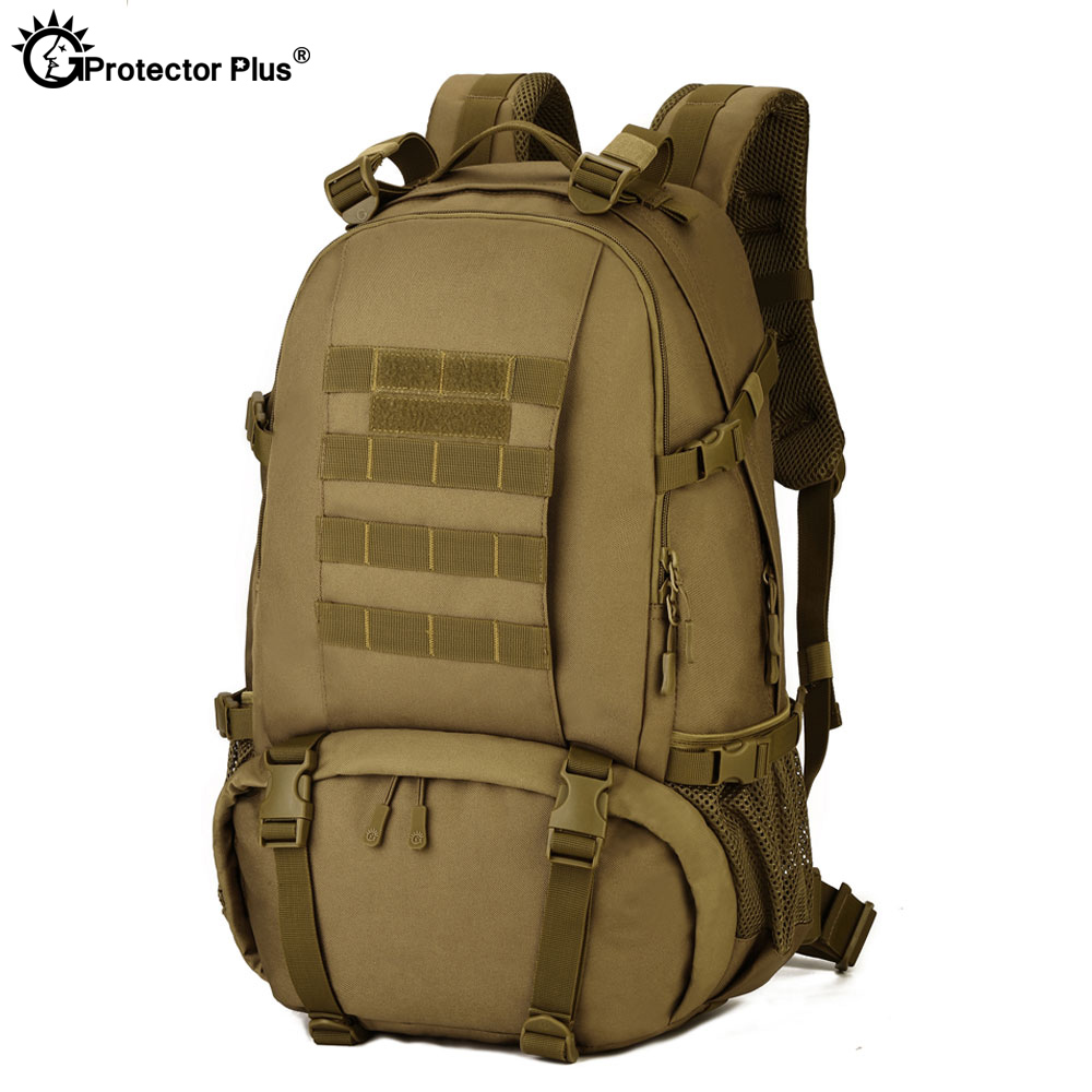 PROTECTOR PLUS Military Molle Backpack CF Game Mountaineer Backpacks Sport Army Outdoor Travel 40L High Capacity