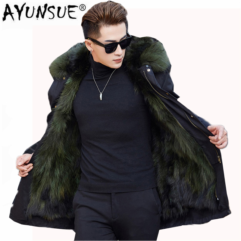 Winter Natural Raccoon Fur Coat Men Warm Thicked Jacket 2018 New Casual Hooded Leather Fur Coat