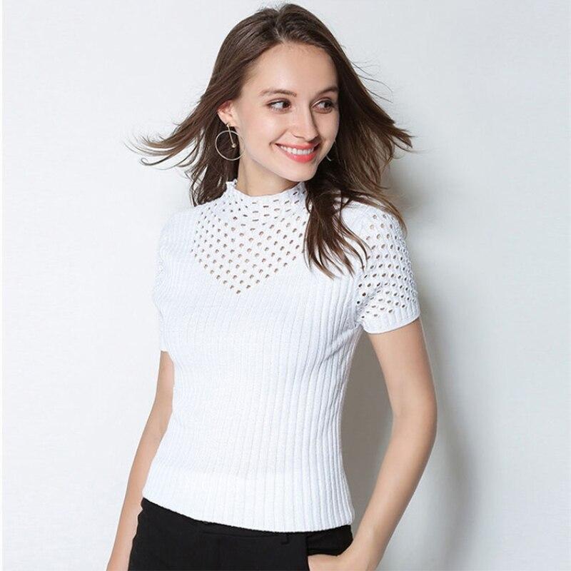 Pulls à manches courtes femmes 2018 nouveau Designer cachemire laine col roulé solide chandails multicolore Sexy tricots tricotés pulls
