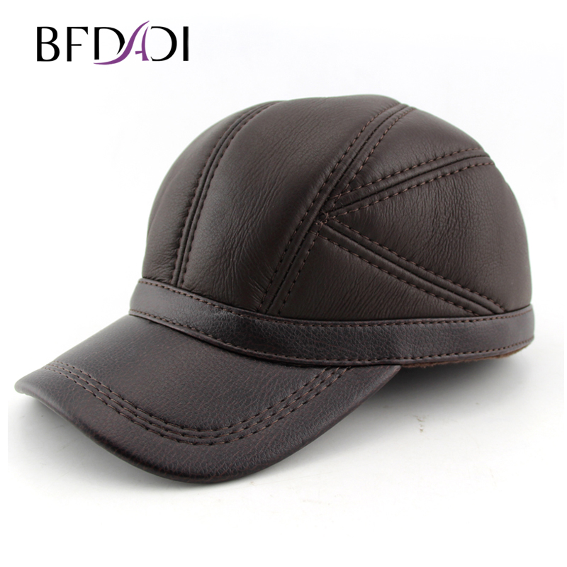 a3b32a003cb BFDADI 2018 New Spring Faux Leather Hat Thin Leather Hat Baseball Cap  Adjustable For Men Black