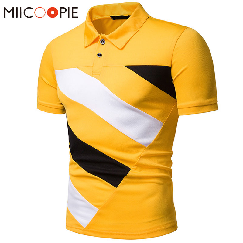 Fashoin   Polo   Homme 2019 Summer Brand Men Causal Slim Fit Contrast Color Yellow Camisa   Polo   Short Sleeve Tee Shirt XXL