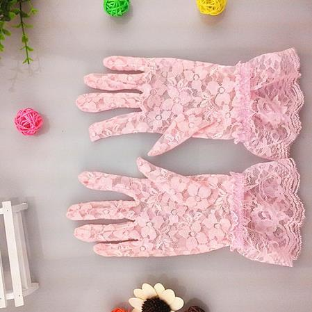 Photo props lace gloves sexy women lady sheer Five Fingers Gloves SPF50 drive non slip gloves solid party stage perform props