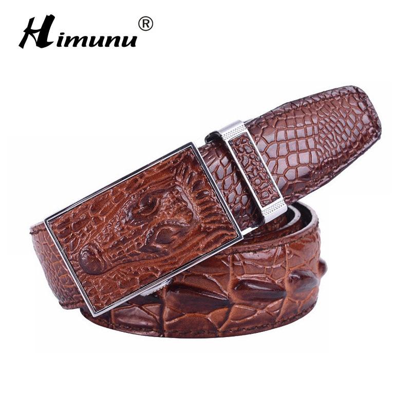 Retail Men's 100% Cowhide Genuine Leather   Belt   Vintage crocodile men   Belts   Luxury Designer Business Automatic Buckle 3 colors