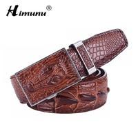 HIMUNU Men S 100 Cowhide Genuine Leather Belt Vintage Crocodile Men Belts Luxury Designer Business Automatic