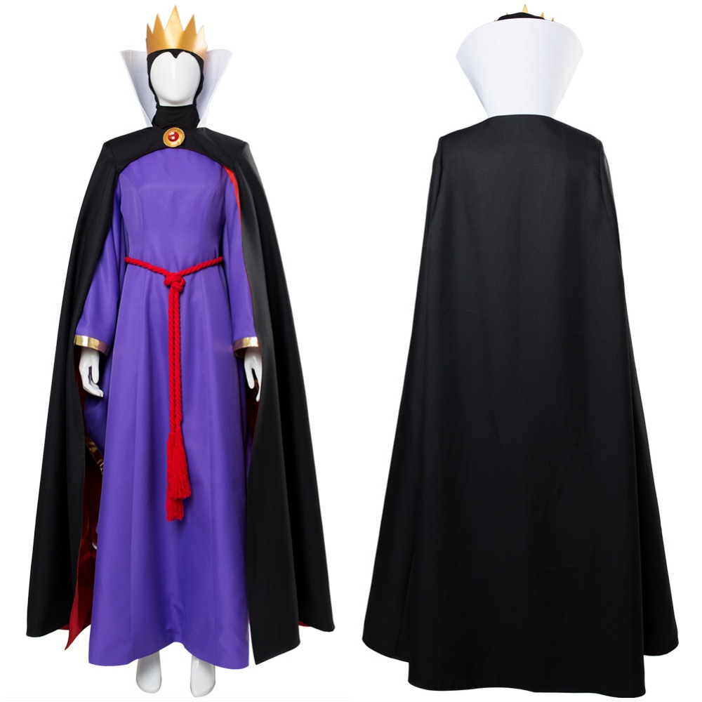 1937 Old Movie The Snow White Cosplay Evil Queen Cosplay Costume Cloak Crown Evil Queen Costume
