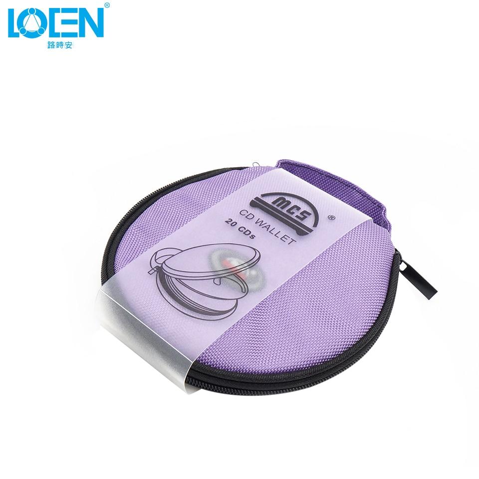 Portable 20 CD DVD DISC Storage Case Organizer Round Oxford Cloth Purple Car Accessories