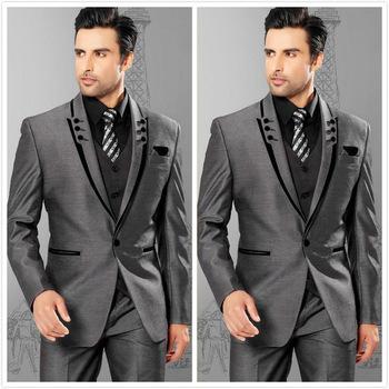 Garnitury męskie Slim Fit klapa zamknięta szare smokingi dla pana młodego męskie garnitury ślubne 2021 garnitury drużbów garnitury męskie jednoprzyciskowe męskie (kurtka + spodnie + kamizelka) tanie i dobre opinie SZGAODSHANG CN (pochodzenie) COTTON Poliester REGULAR Mieszkanie skinny Zipper fly Pojedyncze piersi Formalne