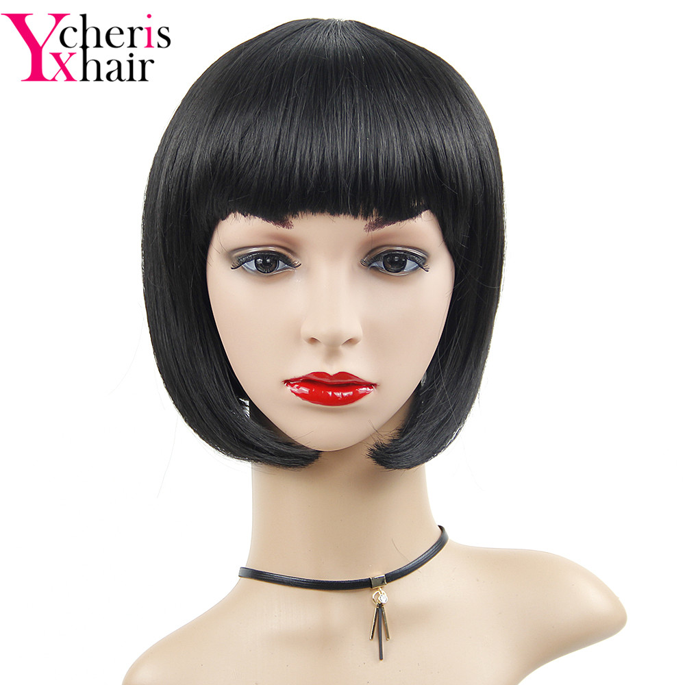 YXCHERISHAIR natural black straight Wigs Cosplay Short Synthetic Short Wigs for Women 8 inch freeshipping