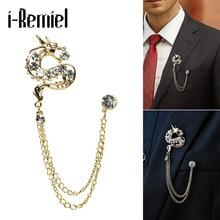 ФОТО selling high-end dragon brooch fashion men's suits chestnut badge rhinestones rhinoceros dragon crocodile jewelry