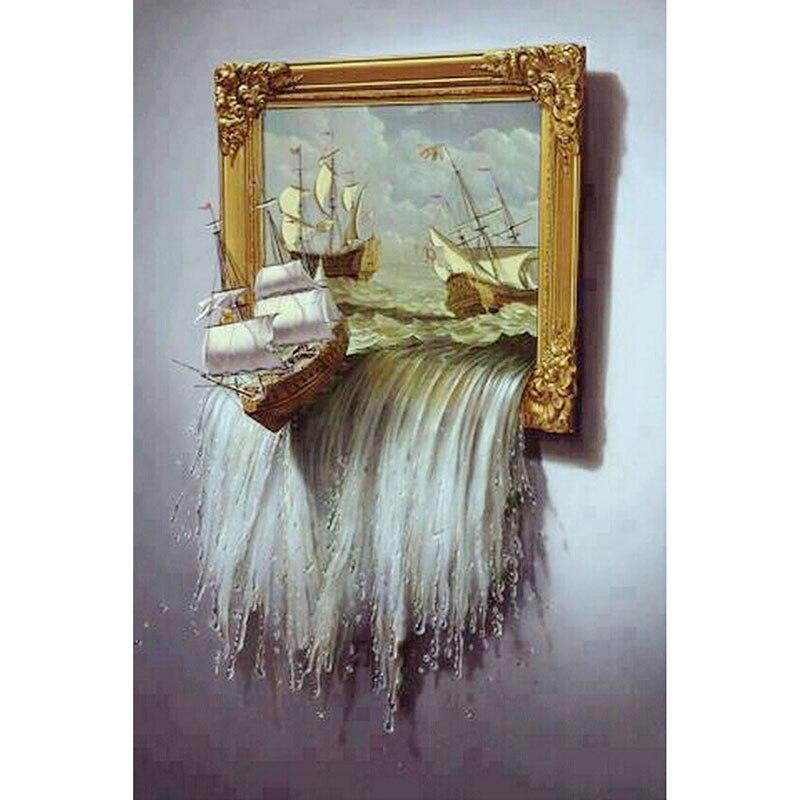 Ev ve Bahçe'ten Elmas Boyama Çapraz Dikiş'de 5D dikiş diy elmas boyama tekne Çapraz Dikiş Kare Gemi Elmas Nakış Ev Dekorasyon Elmas Mozaik xq183