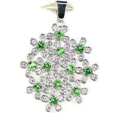 Hot Style cross Green Emerald, white cz Wedding Engagement Girls Party Gift 925 Silver Pendant цена в Москве и Питере