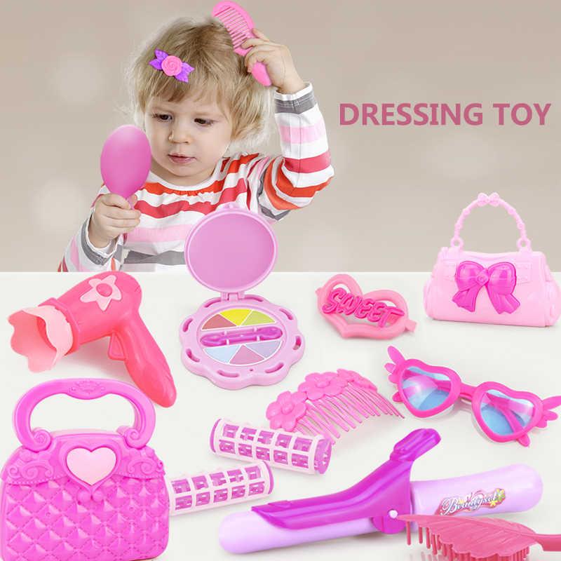 24-32 ADET Oyna Pretend Çocuk Makyaj Oyuncak Pembe Makyaj Seti Prenses Kuaförlük Simülasyon plastik oyuncak Kızlar Için Soyunma kozmetik