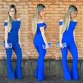 2016 S M L XL Nova Marca Ladies Bodycon Elegante Jumpsuit Romper Calças Calças Mais Calças de Tamanho de Moda Verão Sólida Macacão mulheres