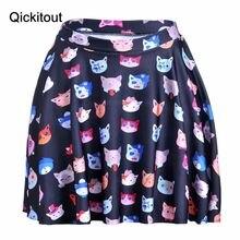 Летний стиль, хит, большие размеры, модная женская юбка, шелковистая, горячая, цифровая печать, кошки, экспрессия выше Юбки До Колена, Прямая