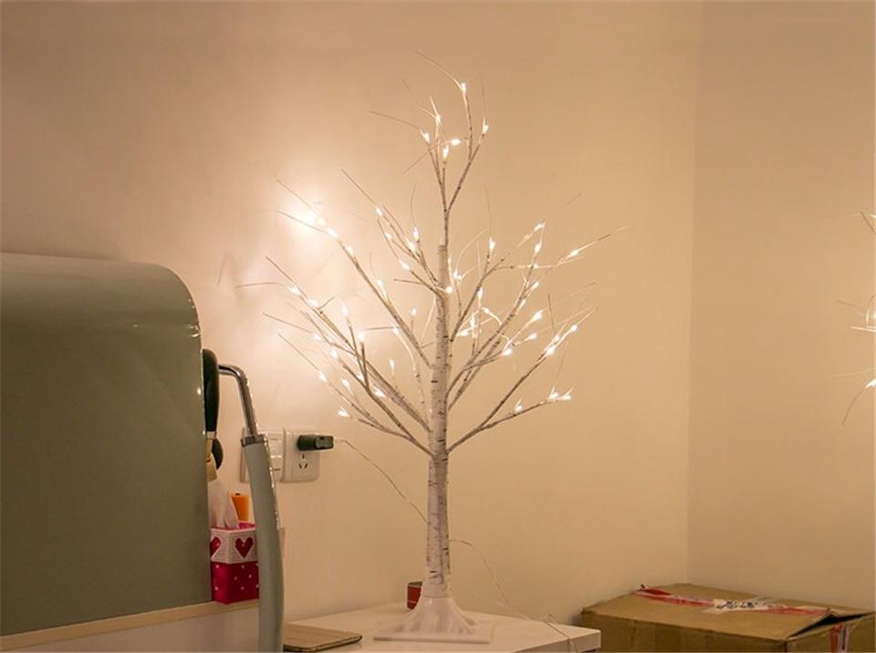 Led de prata árvore de bétula lâmpada