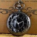 Черный/Серебряный Vintage Кварцевые Карманные Fob Часы Римские цифры Часы Часы Ожерелье Антикварные Ювелирные Изделия Кулон Ретро Подарки