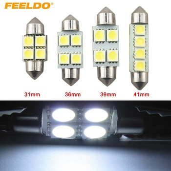 FEELDO 1Pc White Auto 31mm 36mm 39mm 41mm 5050 4SMD 4LED Festoon Dome LED Light Bulbs Reading Light #FD-1181 image