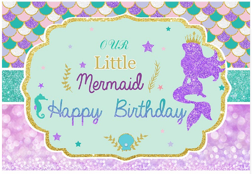 5x7ft Under Sea Party Little Mermaid Scales Frame Happy Birthday