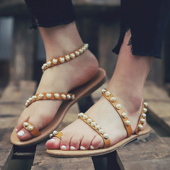 Flat Sandals 2019 Casual Women Sandals String Bead Summer Shoes For Woman Flip Flops Plus Size 43 Leather Beach Sandalias Mujer