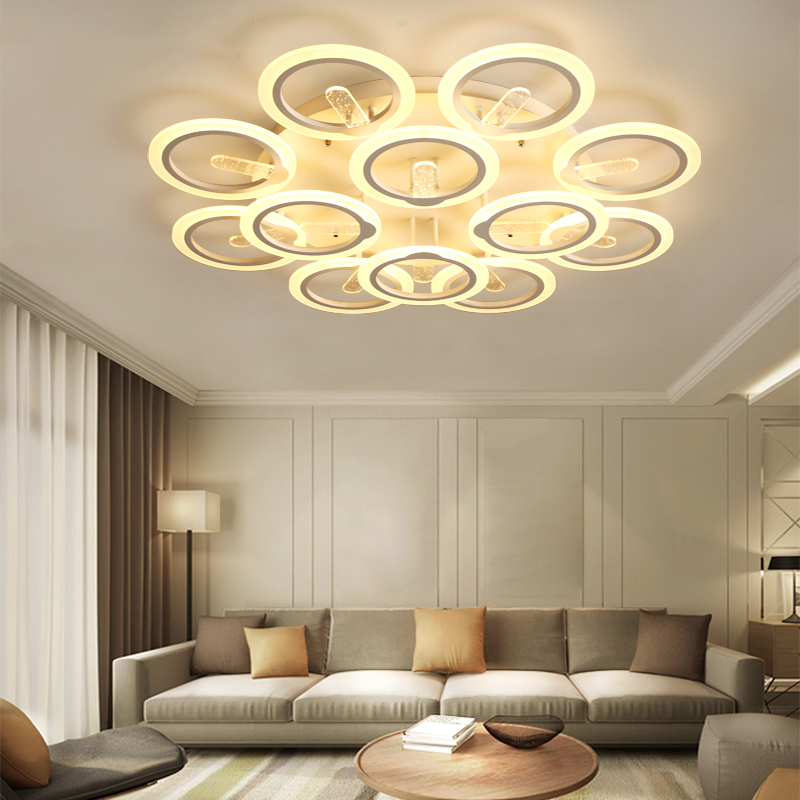Modern LED Ceiling Chandeliers For Living Room Bedroom AC85~260V Rings Dimming Chandeliers Home Decoration Lighting Fixtures