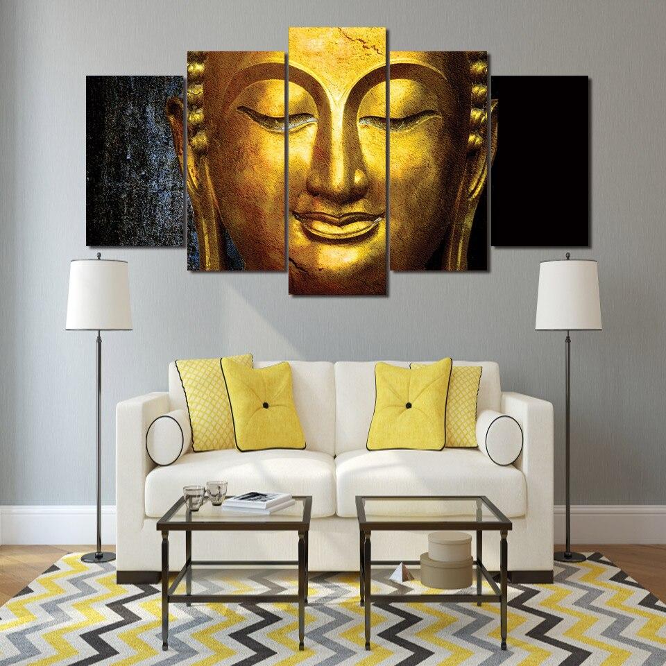 Golden Buddha Statue Religious 5 Piece Canvas Art Framed Print Wall