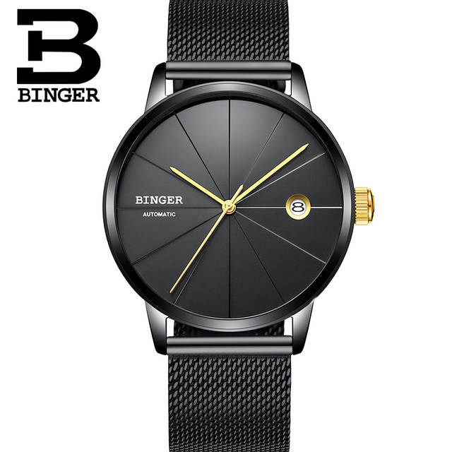6f751587e51 Online Shop Brand Watches Seiko Automatic Movement BINGER Men Mechanical  Watch Full Black Stainless Steel Mesh Band Clock relogio masculino