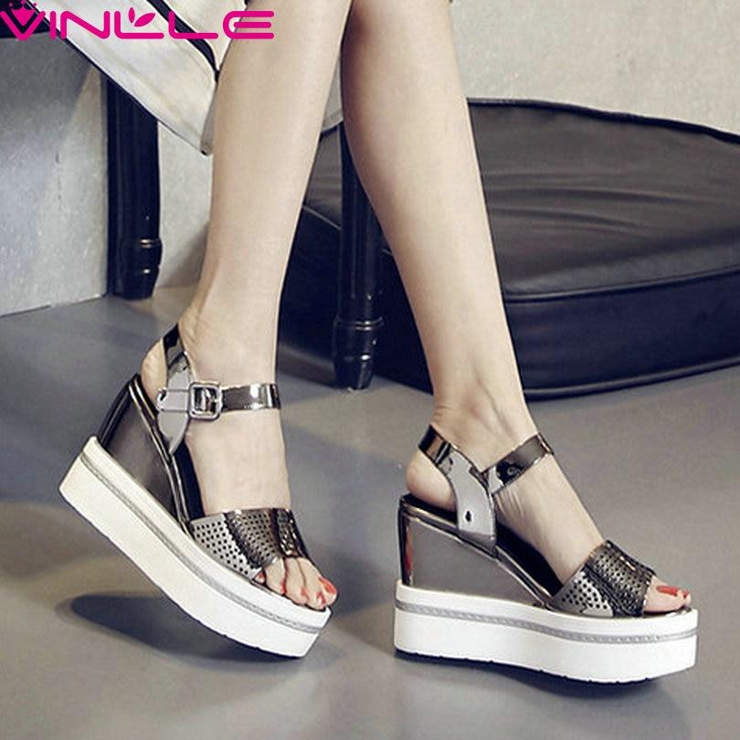 ФОТО VINLLE 2017 Women Pumps Summer Platform Patent Leather Wedges High Heel Party Shoes Buckle Peep Toe Ladies Shoes Size 34-39