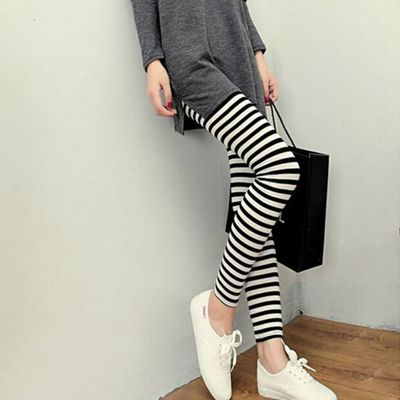 New Brand   Legging   Black White Horizontal Stripe Digital Leggins High Waist Legins Printed Women   Leggings   Pants